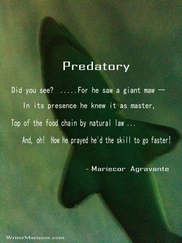 National Poetry Month | Poem entitled PREDATORY by Mariecor Agravante | Writer Mariecor | WriterMariecor.com
