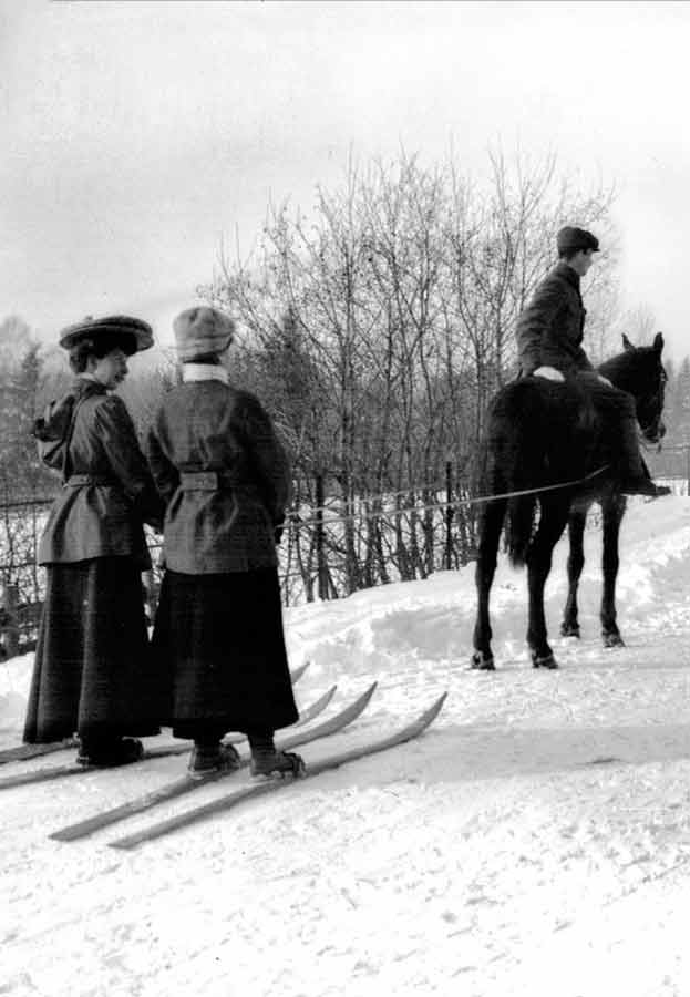 Two Ladies Talk While Skijoring in 1909 Norway | Writer Mariecor | WriterMariecor.com