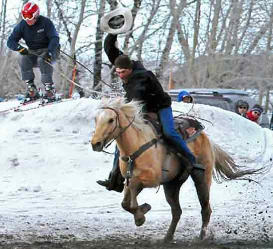 Skijoring Team of Cowboy and Skier | Writer Mariecor | WriterMariecor.com