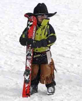 Young Cowboy with Skis | Writer Mariecor | WriterMariecor.com