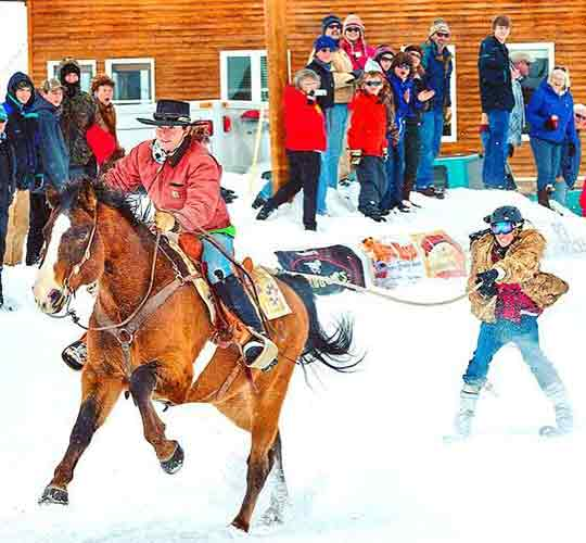 Skijoring Team of Female Rider and Skier | Writer Mariecor | WriterMariecor.com