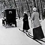 Vintage photo of two females skijoring via automobile | Writer Mariecor | WriterMariecor.com