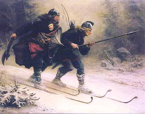 19th century Knud Bergslien painting depicting Birkebeiner skiers carrying Prince Haakon to safety in 1206 | Writer Mariecor | WriterMariecor.com