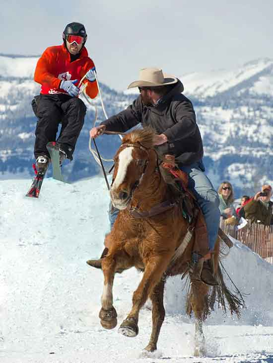 Winter Skijoring Cowboy and mid-jump Skier Duo | Writer Mariecor | WriterMariecor.com