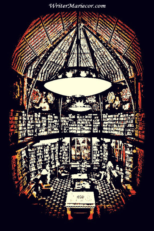 The Library Chandelier Digital Art I Writer Mariecor I WriterMariecor.com