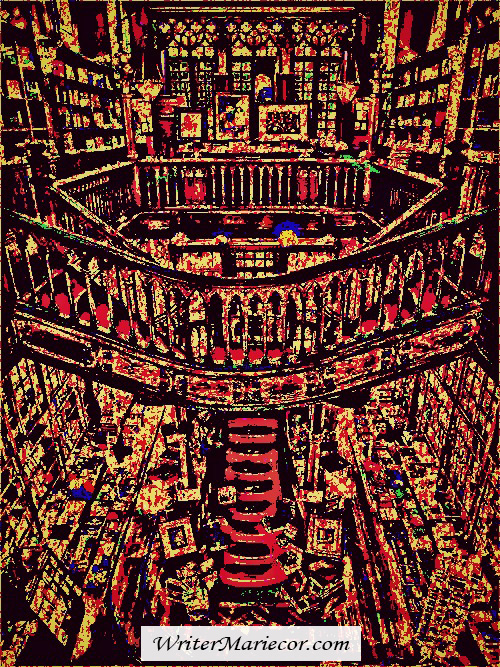 The Staircase Landing amongst Book Shelves Digital Art I Writer Mariecor I WriterMariecor.com
